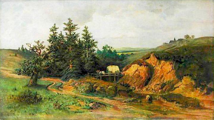 Krajina s vozem s bílou plachtou krajina s kamenným mostem